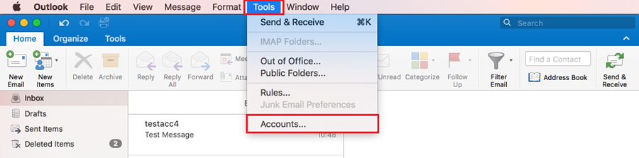 """Outlook program with the Tools menu selected and a red box highlighting the """"Accounts..."""" button."""