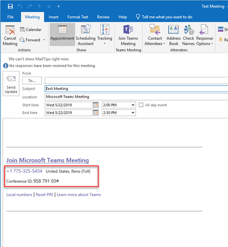 Outlook meeting window with a red box around the phone number that you can call into for a meeting.