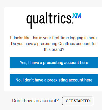 The qualtrics account screen, where No will be selected