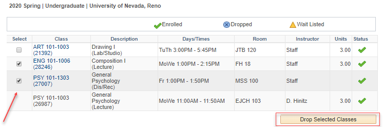 MyNEVADA Select Classes to Drop page with ENG 101 and PSY 101 selected and a red arrow pointing to them. A red box around Drop Selected Classes