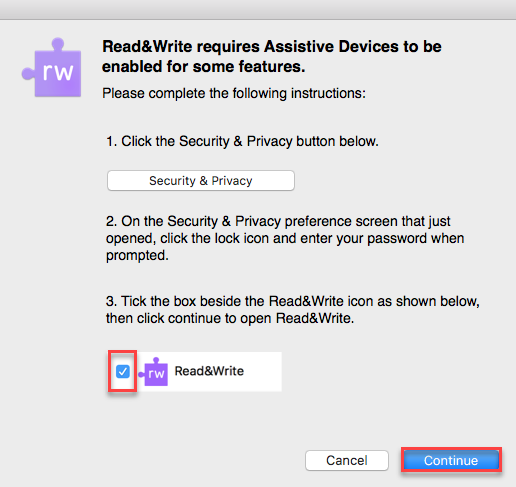 The Assistive Devices Dialog Box with a red square around the check box and a red square highlighting the Continue button.