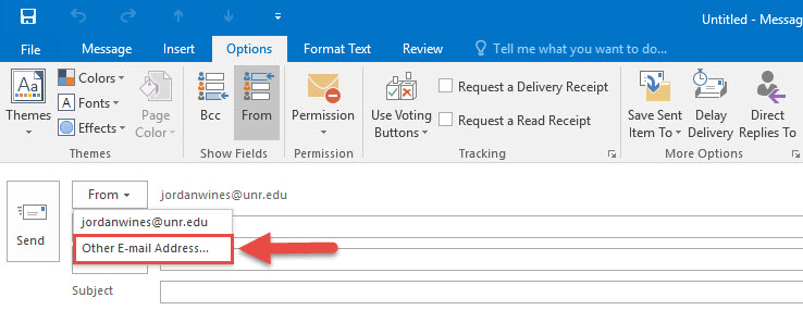 Screenshot of the New Message window with a red box around the Other E-mail Address... option and a red arrow pointing towards the Other E-mail Address option.