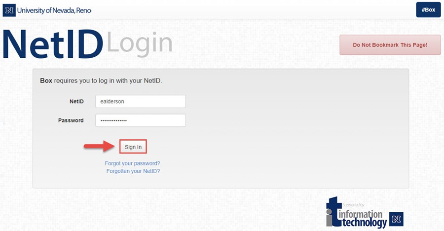 Screenshot of the NetID login page with a red box around the Sign In button and a red arrow pointing towards the Sign In button.