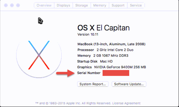 """Screenshot of the """"About this Mac"""" window with a red arrow pointing towards the Serial Number and a red box over the serial number."""