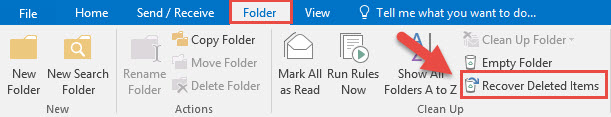 Screenshot of the Outlook Folder tab menu with a red box around the Folder tab, a red box around the Recover Deleted Items button, and a red arrow pointing towards the Recover Deleted Items folder.