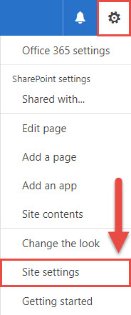 Screenshot of the Settings Menu in SharePoint with a red box around the Settings Menu button, a red box around the Site Settings option, and a red arrow pointing towards the Site Settings option.