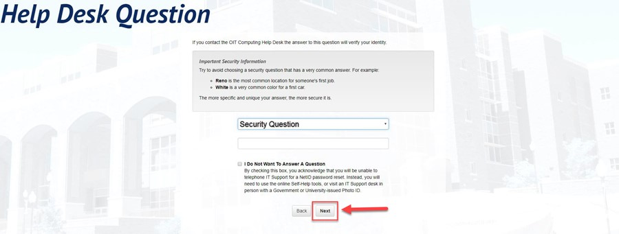 Help Desk Question page with a red arrow pointing to the Next button