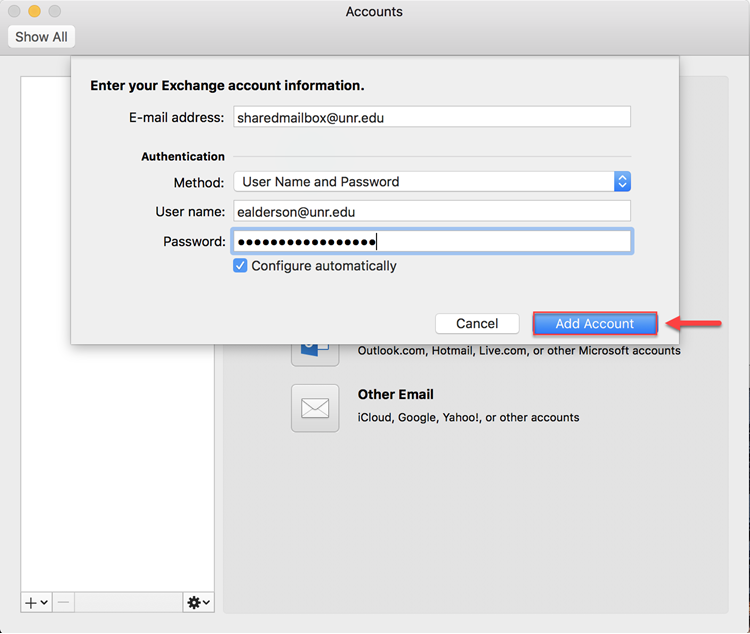 """Shared mailbox account information showing shared mailbox being entered in the first box then UNR email address entered in the authentication and password sections and the """"Add Account"""" button highlighted by a red box and arrow."""