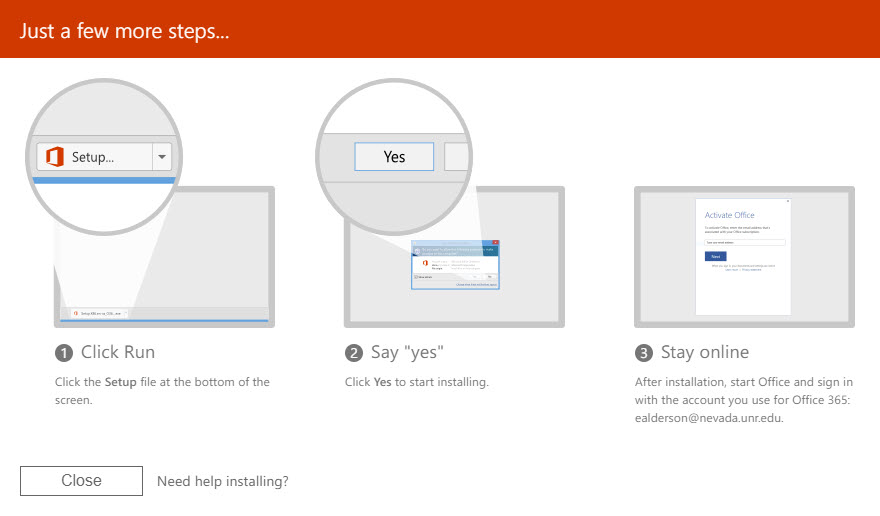 Screenshot of the Office installation instructions.