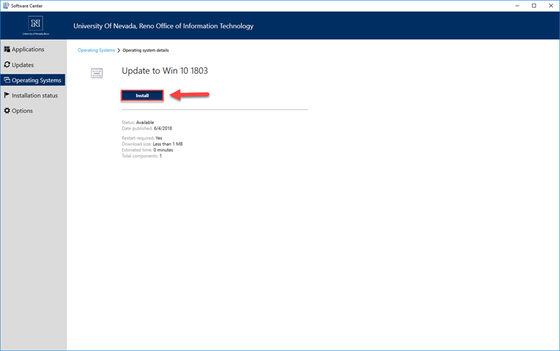 The Windows 10 Upgrade window with a red box and arrow highlighting the Install button.