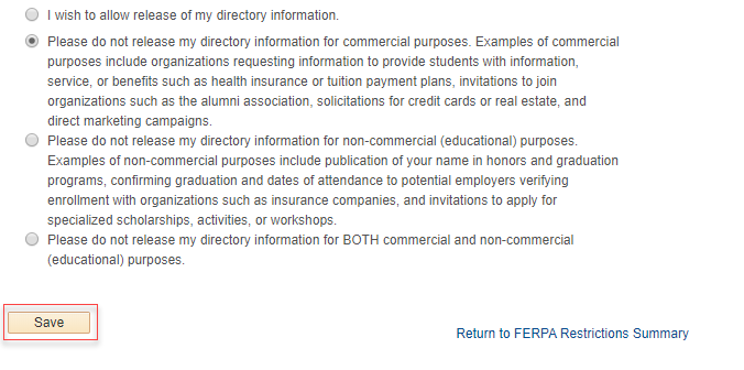 FERPA disclosure selection options in MyNEVADA with red box around the Save button at the bottom of the page