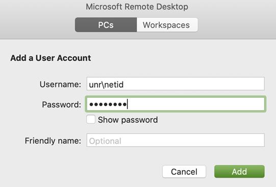 Add a user account window showing Username as unr\netid