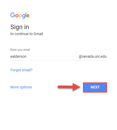 Screenshot of the Gmail sign in page with a red box next to the Next button and a red arrow pointing towards the Next button.