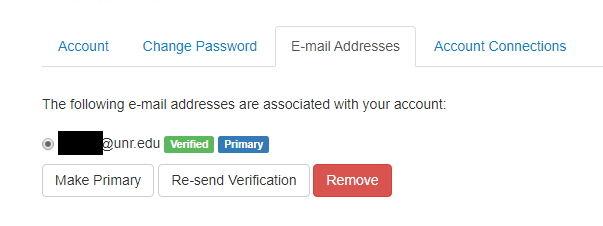 """E-mail Addresses tab selected showing university email address as """"Verified"""" in a green box."""
