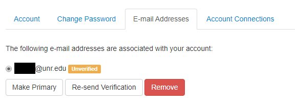 """E-Mail Addresses tab selected with your university email showing a yellow box """"Unverified"""""""