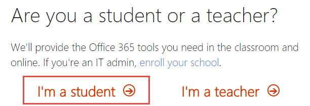 Screenshot of the Office 365 Sign-up screen with a red box around the I'm a student button.