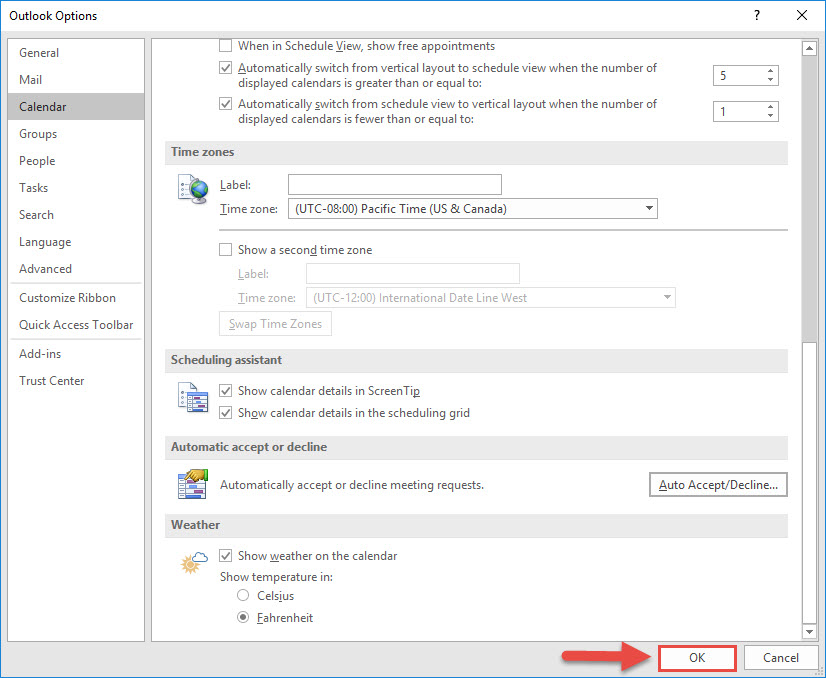Screenshot of the Outlook Options window with a red box around the OK button and a red arrow pointing towards the Ok button.