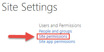 Screenshot of the Site Settings menu in SharePoint with a red box around the Site permissions option and a red arrow pointing towards the Site Permissions option.