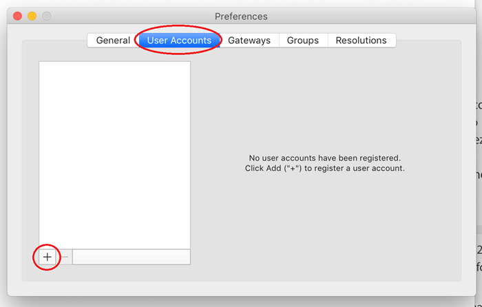 Preferences window with the User accounts and + button highlighted by red circles.