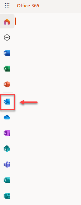 Office 365 main page with the Outlook App button highlighted by a red box and arrow.