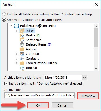 Screenshot of the Archive window with a red box around the Browse... button, a red box around the OK button, and a red arrow pointing towards the OK button.