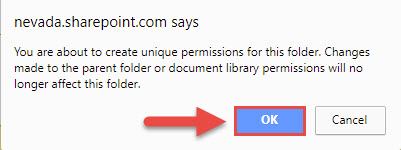 Screenshot of the SharePoint pop up window with a red box around the OK button and a red arrow around the OK button.