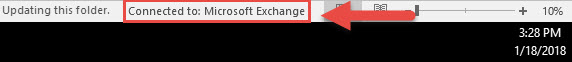 Screenshot of the Outlook window with a red box around Connected to: Microsoft Exchange and a red arrow pointing towards Connected to: Microsoft Exchange.