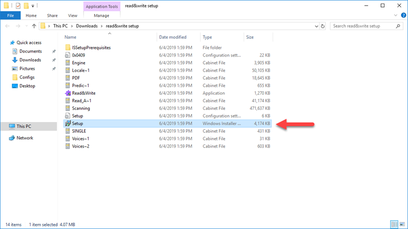 """Windows Explorer with the """"Setup"""" Windows Installer Package highlighted and a red arrow pointing to it."""