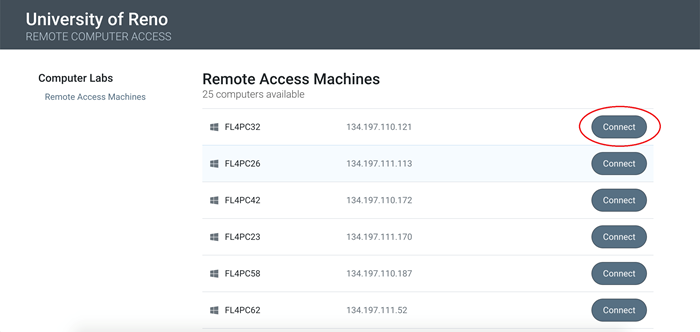 Remote Access Machine page with a red circle highlighting the Connect button.