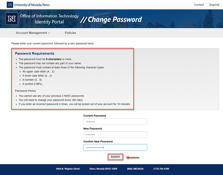 Password Reset page with a red box highlighting the password requirements listed in text above and a red box and arrow highlighting the Submit button.