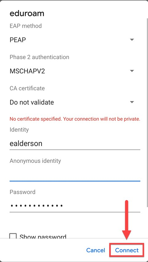 Screenshot of the Android Network Connection screen with a red box around the Connect button, and a red arrow pointing towards the connect button.