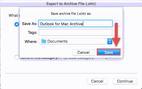 Screenshot of the Outlook Save archive file window with a red box around the Save button and a red arrow pointing towards the Save button.