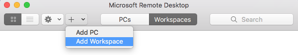 Remote Desktop Window with the + tab selected and the Add Workspace option highlighted.