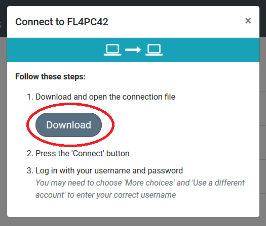 Connection popup page with a red circle highlighting the Download button