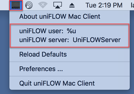 uniFLOW Mac Client finder menu options with the uniFLOW user and uniFLOW server highlighted by a red box.