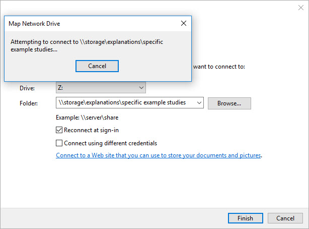 Screenshot of the Attempting to connect map network drive window.