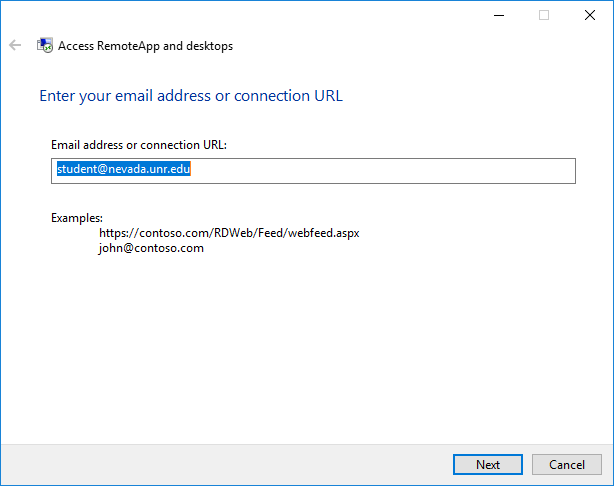 RemoteApps connection window showing a UNR email address entered in the dialog box.
