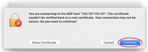 Certification popup with the Continue button highlighted by a red circle