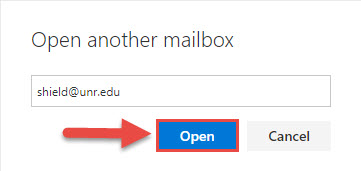 Screenshot of the Open another mailbox window with a red box around the Open button and a red arrow pointing towards the Open button.