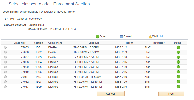 MyNEVADA Enrollment screen with lecture and dis/rec options populated