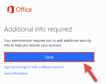 """Warning screen for additional security info with a red box and arrow highlighting the """"Next"""" button."""