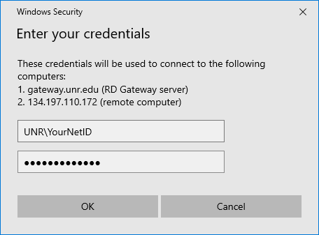 Windows Security Credentials window with the username filled in in the form of UNR/NetID.