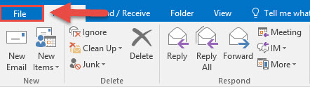 Screenshot of the Outlook Home menu with a red box around the File tab and a red arrow pointing towards the File tab.