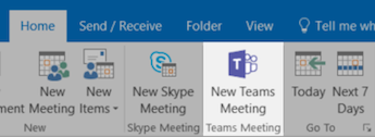 The Home tab on Outlook selected with the New Teams Meeting icon highlighted.
