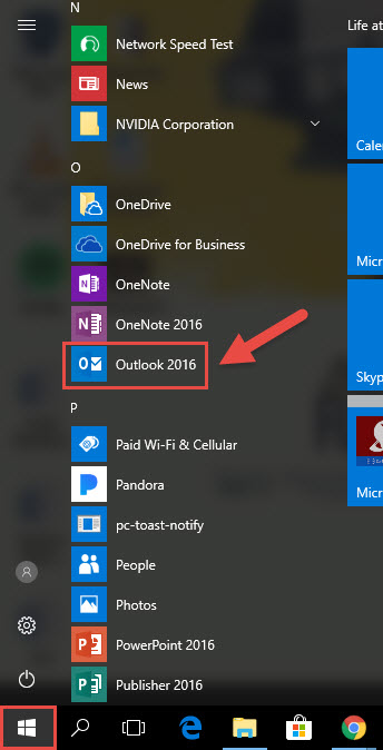 Screenshot of the Windows start menu with a red box around the windows start button, a red box around the Outlook 2016 icon, and a red arrow pointing towards the Outlook 2016 icon.