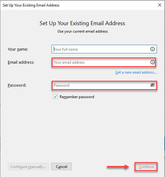Set up page with the Email address and password boxes highlighted by red and the Continue button highlighted by a red box and arrow