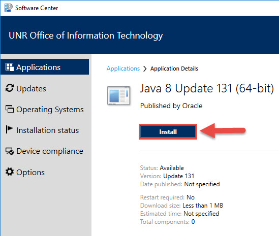 Screenshot of the Java Application Details with a red box around the Install button and a red box around the Install button.